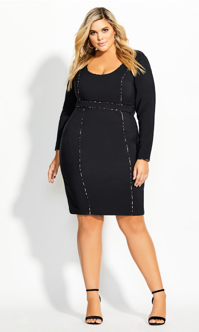 Women's Plus Size Animal Detail Dress - black