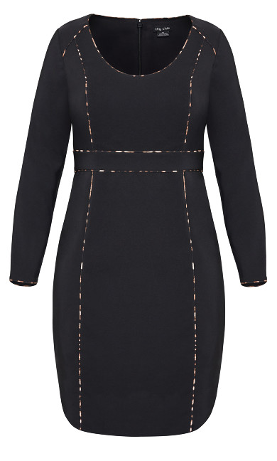 Animal Detail Dress - black