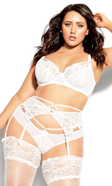 Plus Size Delores Garter Belt - ivory