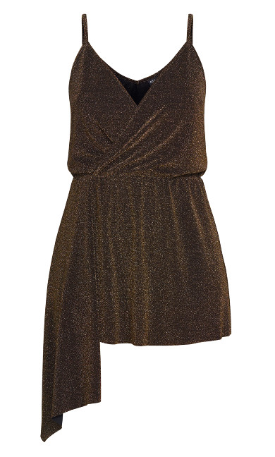 Asymmetric Glitz Top - gold