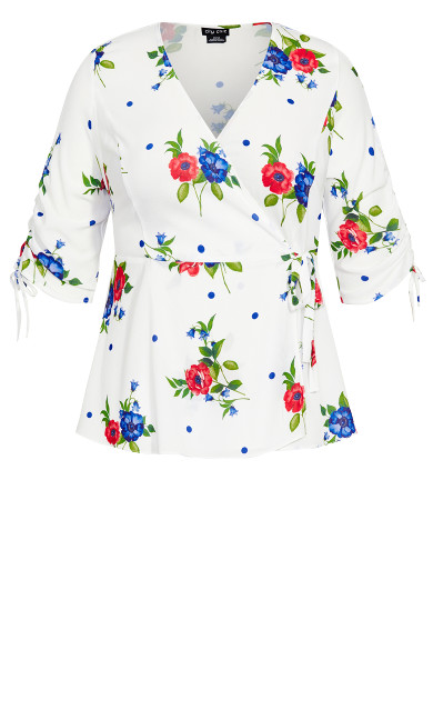 Poppy Floral Top - white