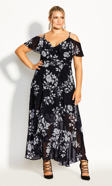 Plus Size Night Garden Maxi Dress - black
