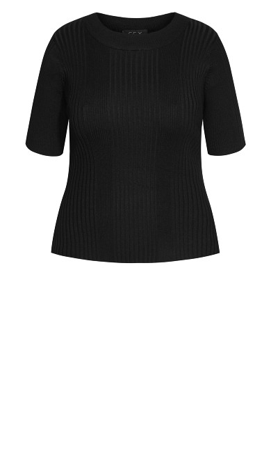 Ribbed Short Sleeve Sweater - black