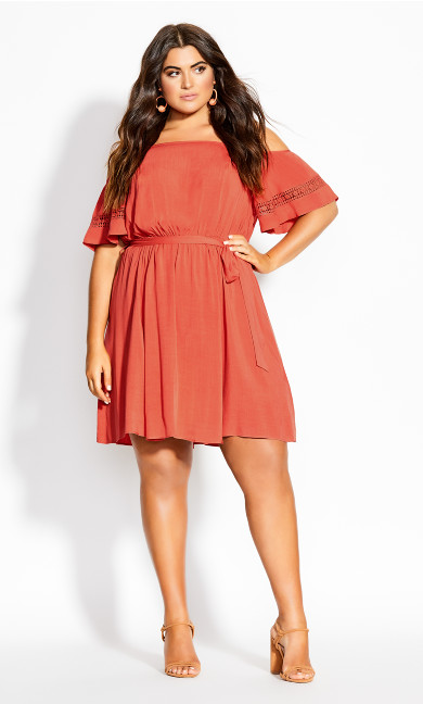 Trim Shoulder Dress - rust