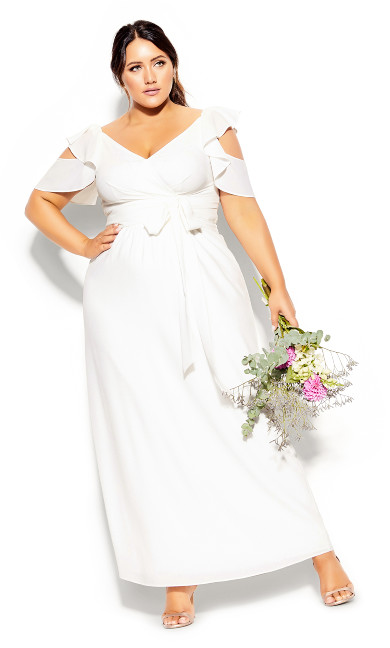 Plus Size Frill Treasure Maxi Dress - ivory