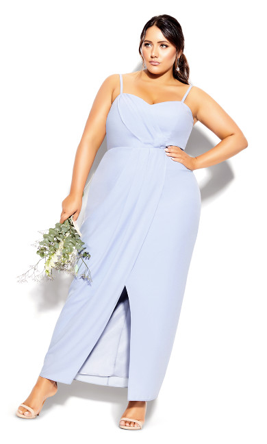 Plus Size Sweet Drape Maxi Dress - powder