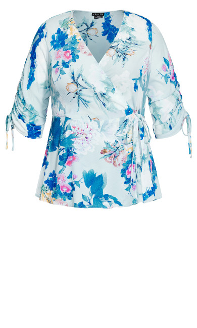 Kiku Floral Top - blue