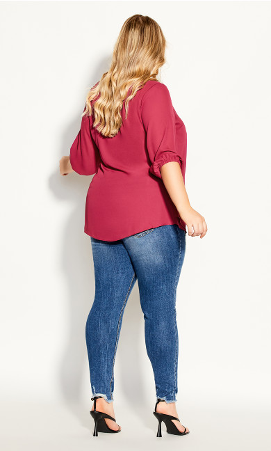 Sexy Fling Elbow Sleeve Top - magenta