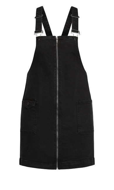 Denim Zipper Dress - black
