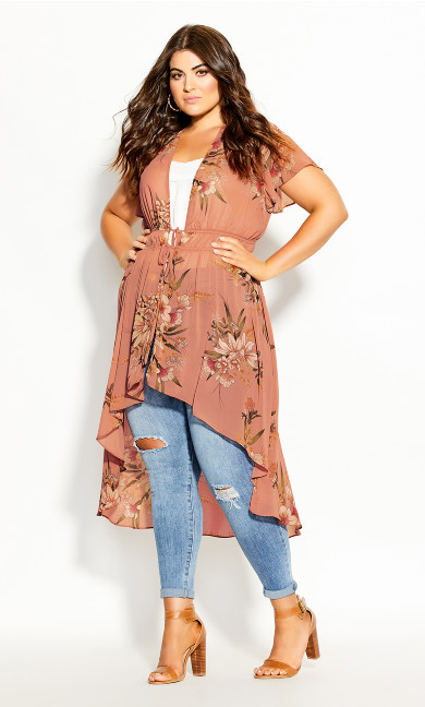 Plus Size Gypsy Floral Jacket - guava