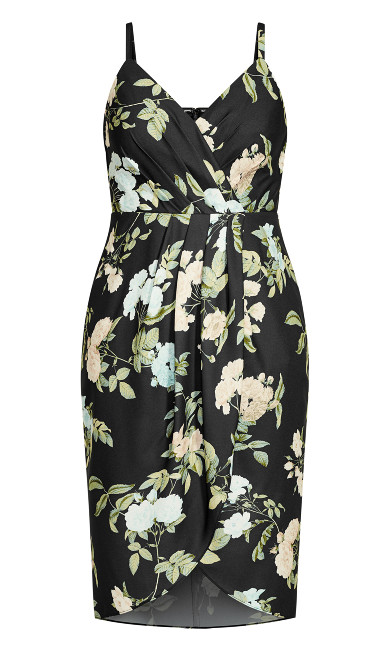 Tender Floral Dress - black