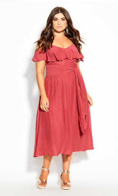 Plus Size Romantic Tie Dress - raspberry