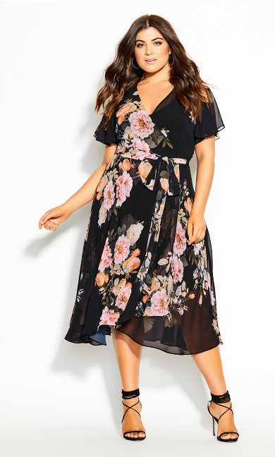 Plus Size Tuscan Frill Dress - black
