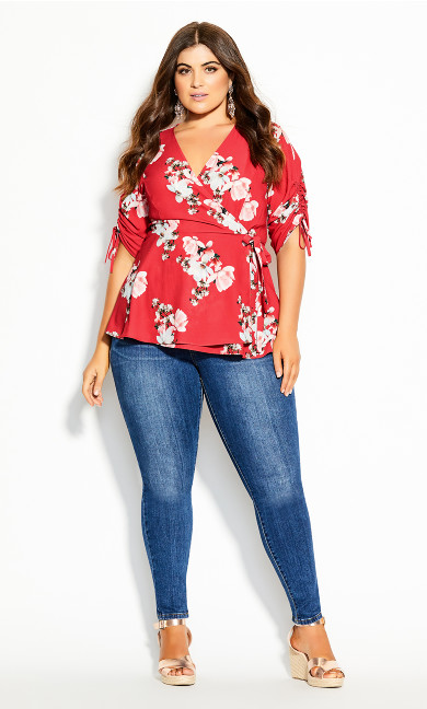 Plus Size Lady Ascot Top - red