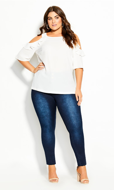 Plus Size Wild Sleeve Top - ivory