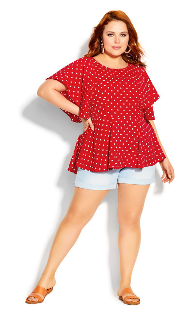 Plus Size Red Love Spot Top - red