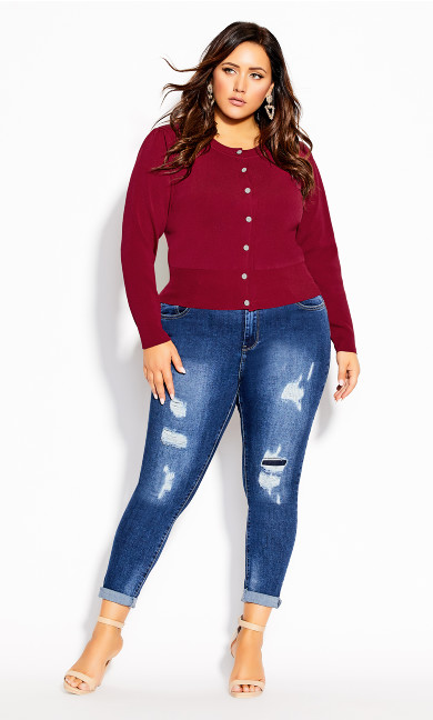 Plus Size Luxe Button Cardi - sangria