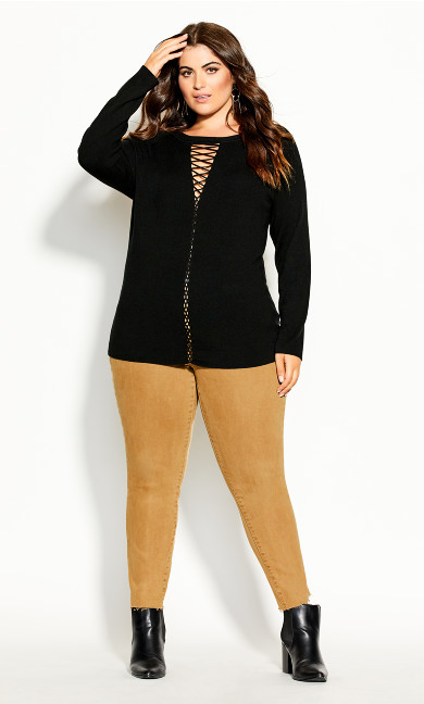 Plus Size Criss Cross Jumper - black