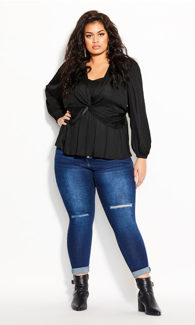 Plus Size Twisted Love Top - black