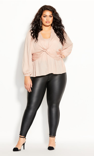 Plus Size Twisted Love Top - rose