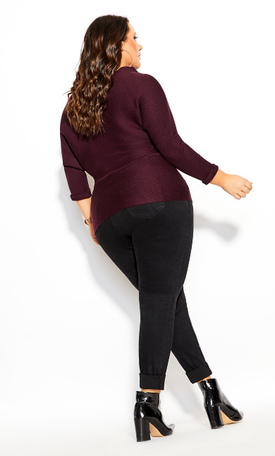 Fitter Rib Sweater - plum