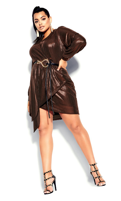 Plus Size Ambiguous Dress - bronze