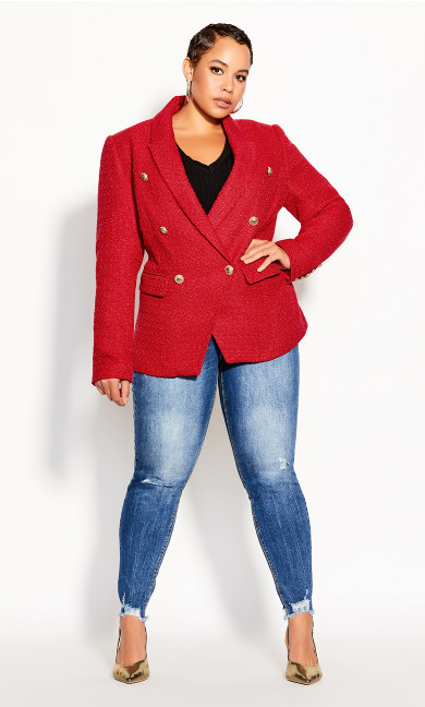 Plus Size Royale Jacket - crimson