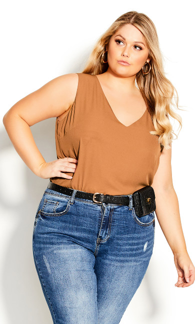 Plus Size Double Layer Top - ginger
