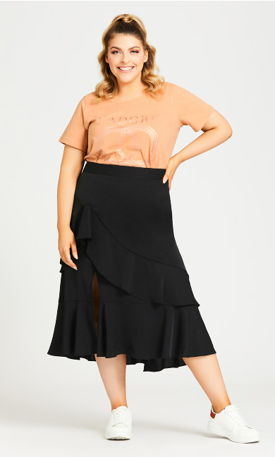 Plus Size Ruffle Plain Skirt - black
