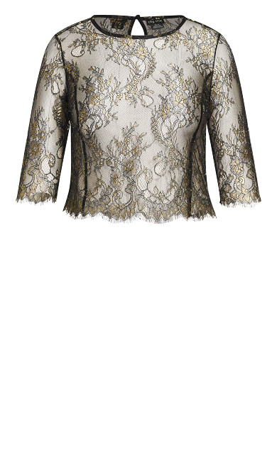 Stunning Lace Short Sleeve Top - bronze