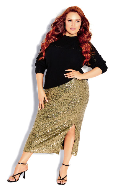 Plus Size Bronzed Skirt - bronze