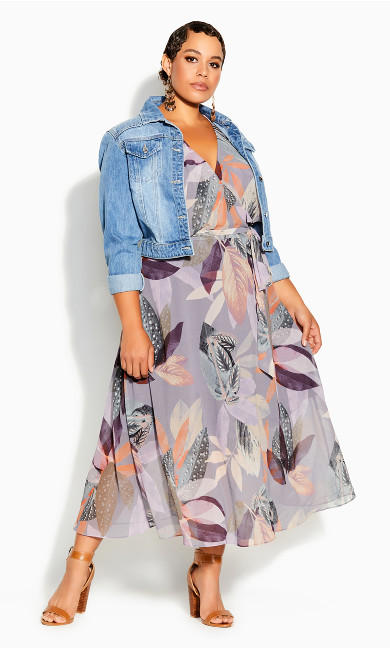 Plus Size Paradise Palm Dress - mauve