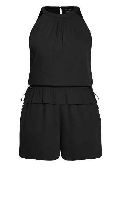 Halter Tie Playsuit - black