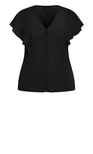 Button Thru Top - black