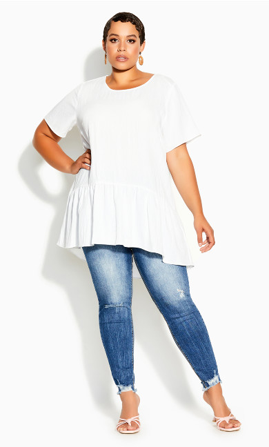 Plus Size Breezy Frill Top - ivory