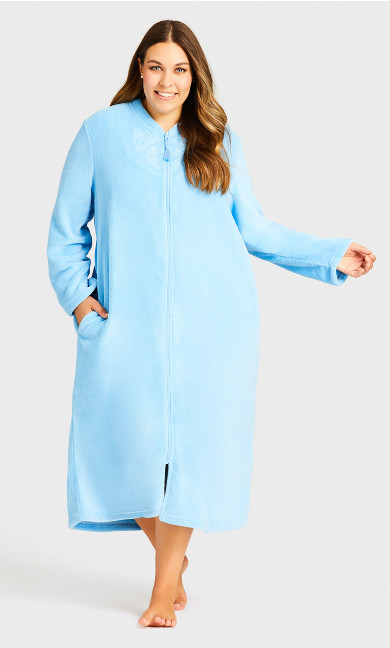 Plus Size Embroidered Zip Robe -