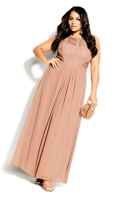 Plus Size Panelled Bodice Maxi Dress - sueded rose