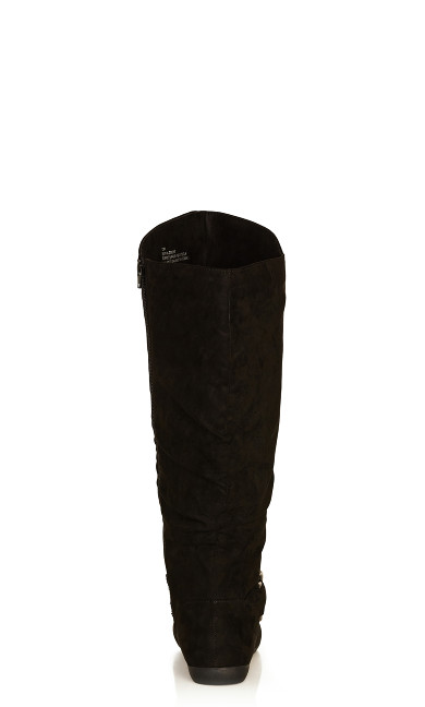 Sasha Faux Suede Ruched Tall Boot - black