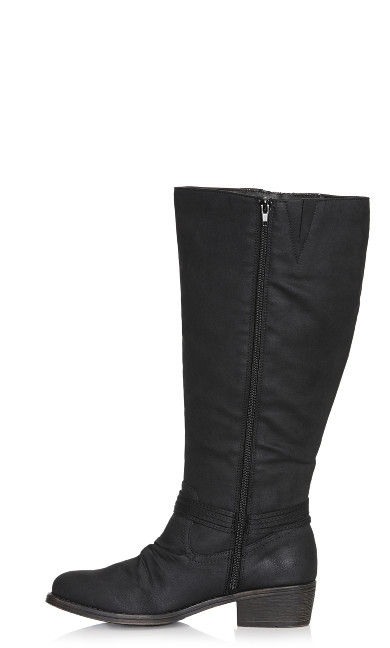 Frankie Faux Lace-Up Boot - black