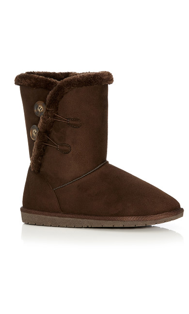 Plus Size Zoey Fur Lined Suede Boot - brown