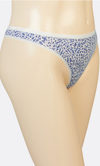 Animal Print Cotton Thong Panty - blue