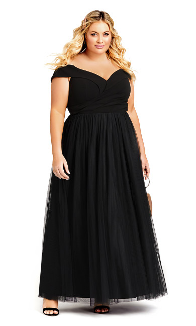 Plus Size Rippled Tulle Maxi Dress - onyx