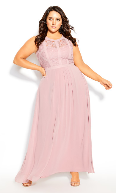 Women's Plus Size Panelled Bodice Maxi Dress - rosebud