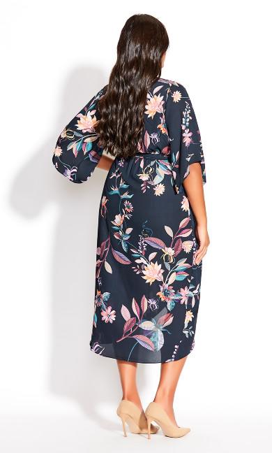 Floral Crush Midi Dress - teal