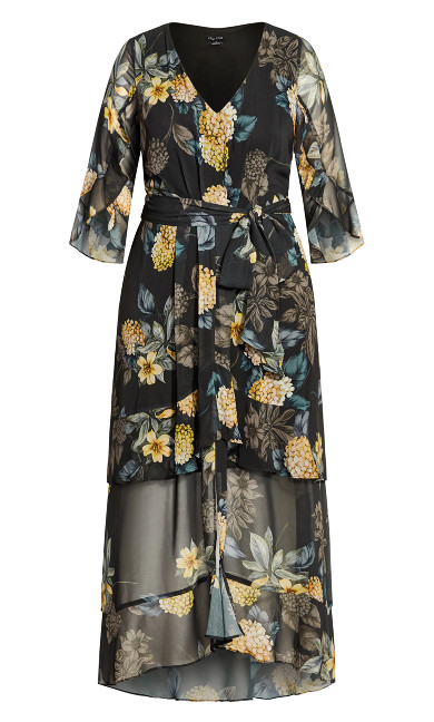 Golden Floral Maxi Dress - black