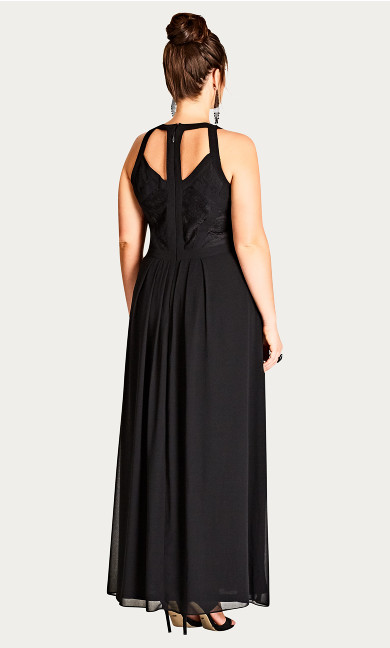 Paneled Bodice Maxi Dress - black