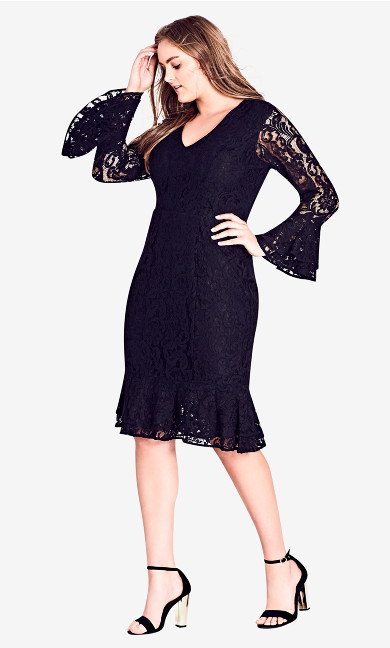 Women's Plus Size Lace Desire Dress - Black