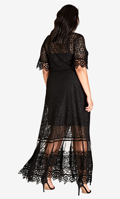 Summer Lace Maxi Dress - black