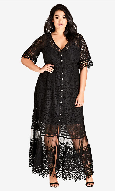 Women's Plus Size Summer Lace Maxi Dress - black